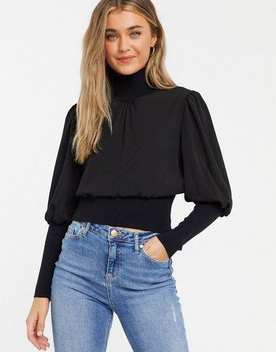 Nero donna Top in maglia con maniche lunghe a palloncino, colore nero - French Connection