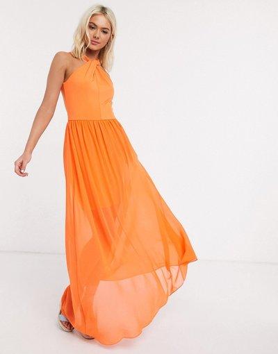 Arancione donna Vestito lungo allacciato al collo a incrocio arancione - French Connection