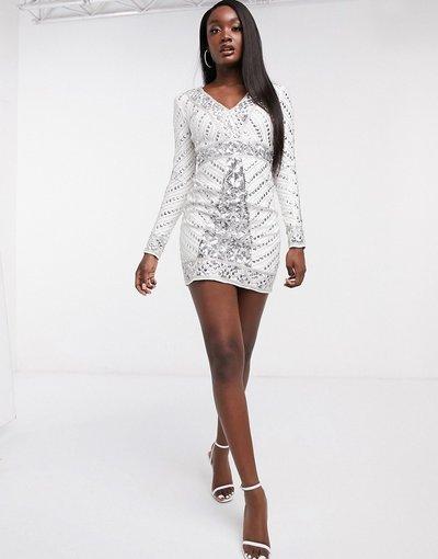 Bianco donna Vestito corto a fascia bianco interamente decorato - Frock and Frill Club