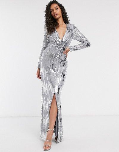 Grigio donna Vestito lungo argento decorato con nodo - Frock and Frill Club - Grigio