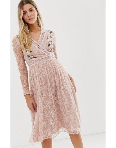 Rosa donna Vestito midi a portafoglio in pizzo rosa tenue con ricami - Frock And Frill - Prairie