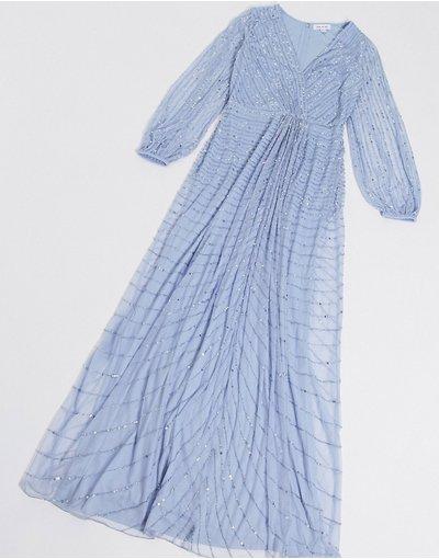 Eleganti lunghi Blu donna Vestito lungo decorato con nodo blu - Frock and Frill