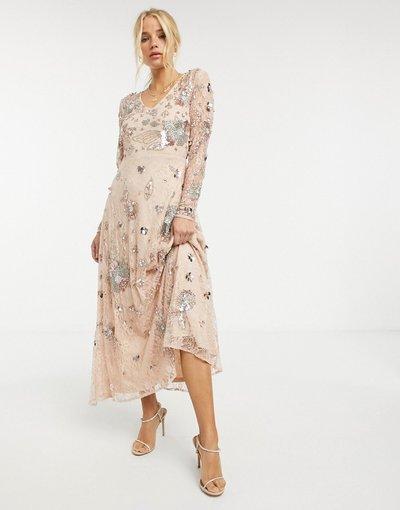 Rosa donna Vestito lungo decorato Fairytale multi - Frock and Frill - Rosa