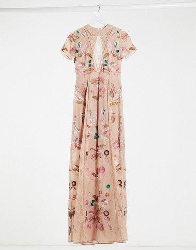 Eleganti lunghi Rosa donna Vestito lungo ricamato con inserti in pizzo rosa pallido - Frock and Frill