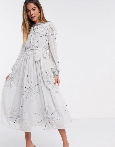 Grigio donna Vestito midi decorato argento grigio - Frock and Frill