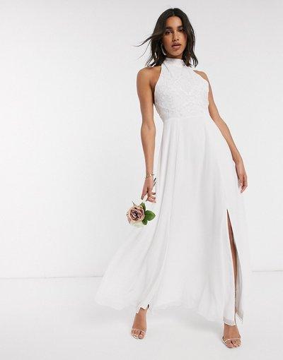 Bianco donna Vestito da sposa accollato con perline bianco - Frock&Frill