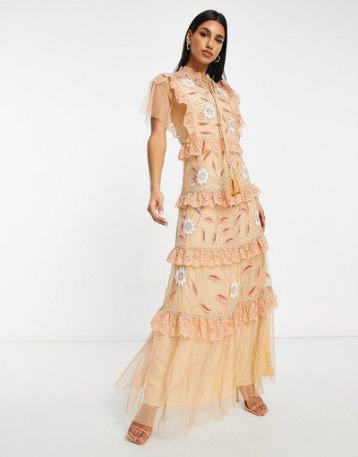 Rosa donna Vestito lungo a balze a maniche corte con volant pesca - Frock&Frill - Rosa