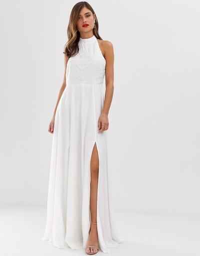 Bianco donna Vestito lungo accollato con decorazioni - Frock&Frill - Bianco