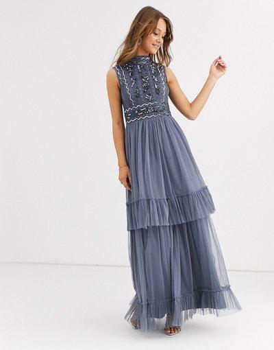 Blu donna Vestito lungo accollato decorato - Frock&Frill - Blu
