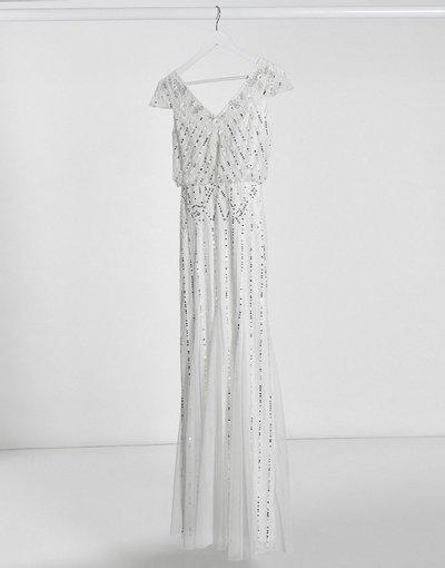 Bianco donna Vestito lungo avorio con decorazioni e scollo a V - Frock&Frill - Bianco