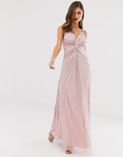 Rosa donna Vestito lungo con spalline sottili, dettaglio attorcigliato davanti e paillettes decorative - Frock&Frill - Rosa