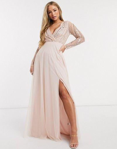 Eleganti lunghi Rosa donna Vestito lungo decorato a maniche lunghe con profondo scollo a V rosa - Frock&Frill