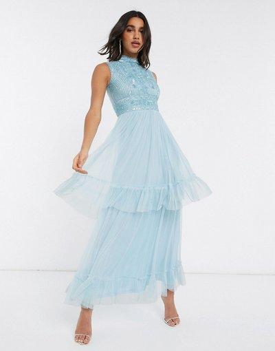 Giallo donna Vestito lungo in tulle a strati blu - Frock&Frill - Giallo