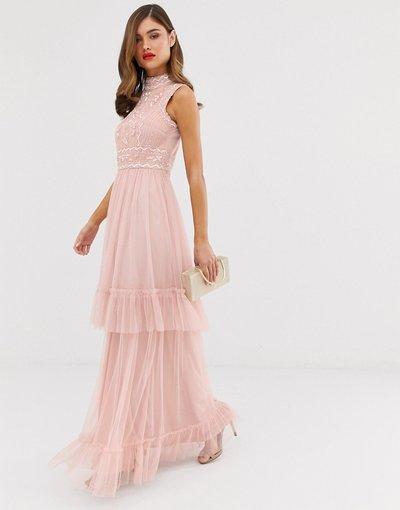 Rosa donna Vestito lungo in tulle a strati con decorazione - Frock&Frill - Rosa