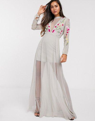 Eleganti lunghi Grigio donna Vestito lungo ricamato grigio con pannelli trasparenti - Frock&Frill