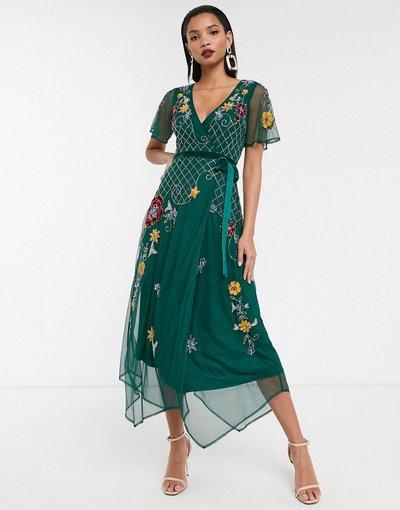 Verde donna Vestito midi a portafoglio a maniche corte decorato - Frock&Frill - Verde