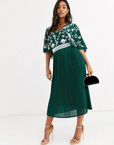 Verde donna Vestito midi con parte superiore ricamata monocromatica - Frock&Frill - Verde
