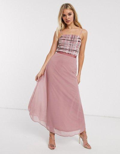 Rosa donna Vestito midi stile sottoveste metallizzato a quadri - Frock&Frill - Rosa