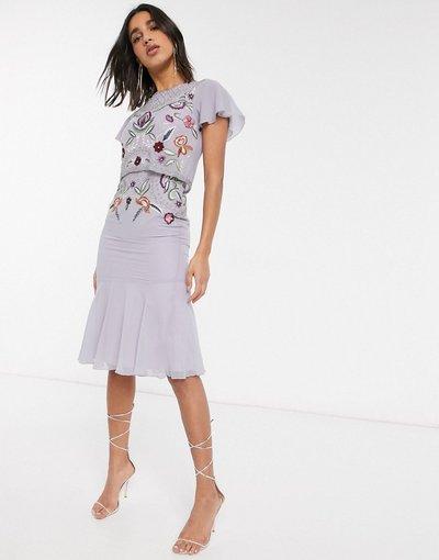 Viola donna Vestito peplo midi lilla decorato - Frock&Frill - Viola