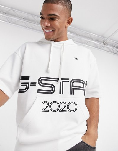 Felpa Bianco uomo Felpa con cappuccio a maniche corte sportiva con logo - Bianco - Star - G