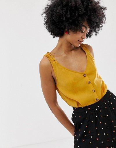 Camicia Giallo donna Top con spalline arricciate e bottoni sul davanti - Arienne - Gestuz - Giallo