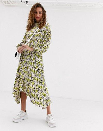 Giallo donna Vestito midi in crêpe con maniche a palloncino - Anais - Ghost - Giallo
