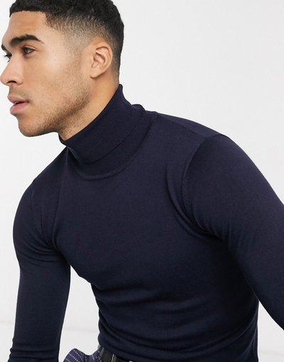 Novita Navy uomo Maglione premium stretch attillato con collo alto a maglia fine - Gianni Feraud - Navy
