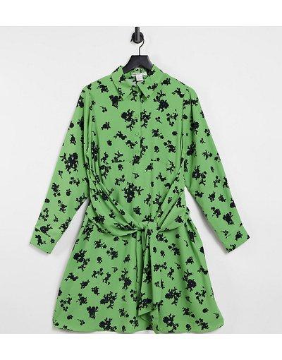 Maternita Verde donna Vestito a trapezio con allacciatura sul davanti e arricciatura con stampa a fiori vintage - Glamorous Bloom - Verde
