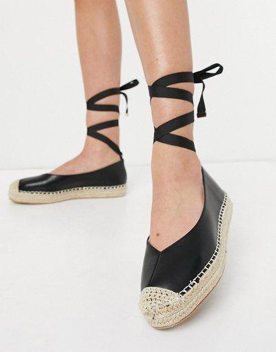 Scarpa bassa Nero donna Espadrilles allacciate alla caviglia nere - Glamorous - Nero