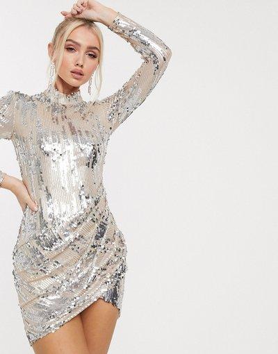 Crema donna Vestitino argento con paillettes e drappeggio - Goddiva - Crema