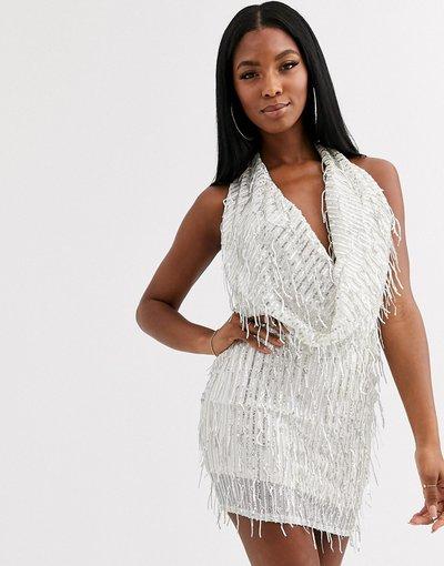 Crema donna Vestito corto crema decorato con scollo ad anello profondo - Goddiva