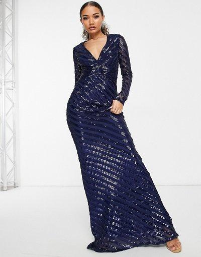 Blu navy donna Vestito lungo in paillettes blu navy a maniche lunghe con gonna a sirena - Goddiva