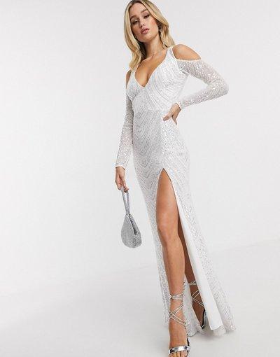 Eleganti lunghi Bianco donna Vestito lungo scollo profondo con spacco sulla coscia e spalle scoperte bianco con paillettes - Goddiva