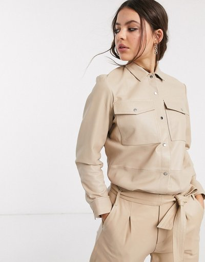 Camicia Pietra donna Camicia oversize in pelle - Goosecraft - Pietra