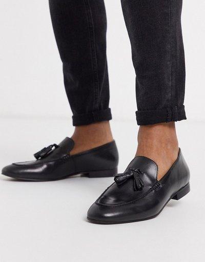 Scarpa elegante Nero uomo Mocassini in pelle con nappe neri - H by Hudson - Bolton - Nero