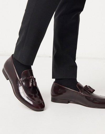 Scarpa elegante Rosso uomo Mocassini lucidi bordeaux con nappe - H by Hudson - Bolton - Rosso