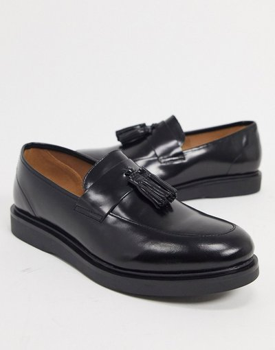 Scarpa elegante Nero uomo Mocassini in pelle nera lucida - H by Hudson - Calverston - Nero