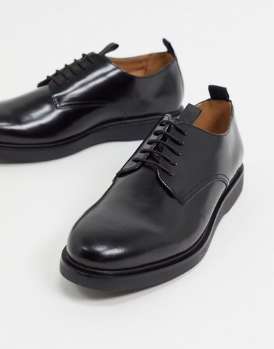 Scarpa elegante Nero uomo Scarpe stringate in pelle nero lucido - H by Hudson - Calverston