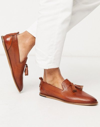 Scarpa elegante Cuoio uomo Mocassini goffrati in pelle color cuoio - H By Hudson - Comber