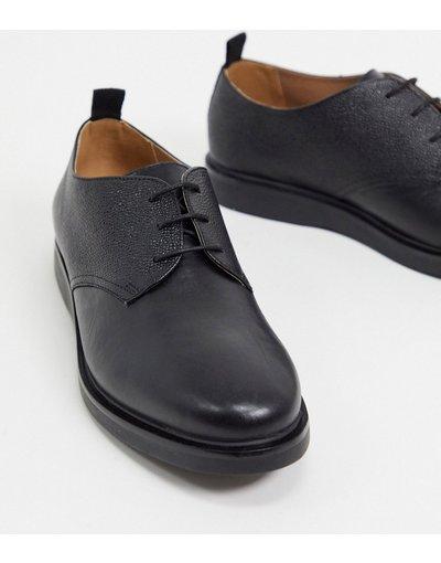 Scarpa elegante Nero uomo Scarpe stringate in pelle zigrinata nere - H by Hudson - Ddumont - Nero