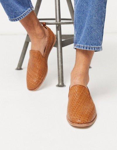 Scarpa elegante Cuoio uomo Mocassini intrecciati in pelle color cuoio - H By Hudson - Ipanema