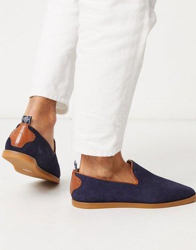 Scarpa elegante Navy uomo Mocassini blu navy scamosciato - H By Hudson - Parker