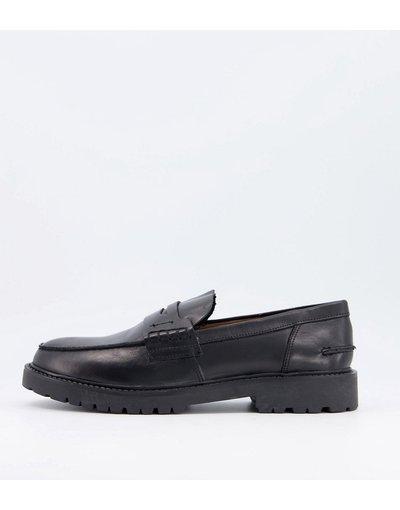 Scarpa elegante Nero uomo Mocassini con suola spessa in pelle nera - H by Hudson - Radclif - Nero