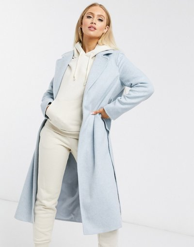 Blu donna Cappotto a portafoglio blu pallido in misto lana - Helene Berman