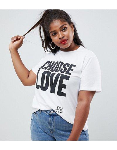 T-shirt Bianco donna Help Refugees Choose Love Curve - shirt bianca in cotone biologico - Bianco - T