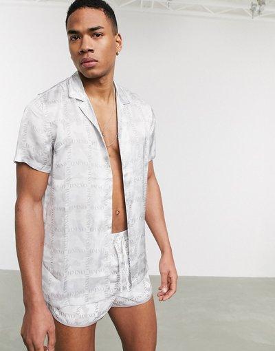 Camicia Grigio uomo Camicia a maniche corte mimetica e a quadri con logo coordinata - Hermano - Grigio
