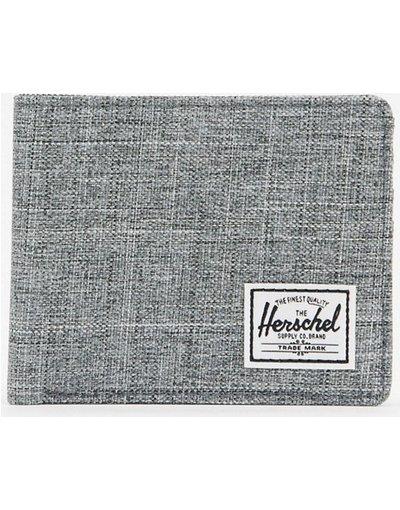 Portafoglio Grigio uomo Portafoglio a libro grigio con tratteggio incrociato e protezione da RFID - Herschel Supply Co - Roy