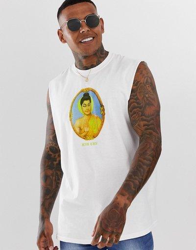 T-shirt Bianco uomo shirt senza maniche stampata - HNR LDN - Bianco - T