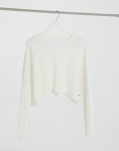 Bianco donna Maglione accollato a trecce bianco - Hollister