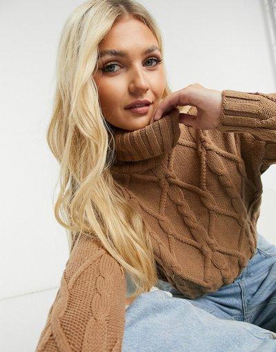 Cuoio donna Maglione con collo alto in maglia a trecce color cammello - Hollister - Cuoio